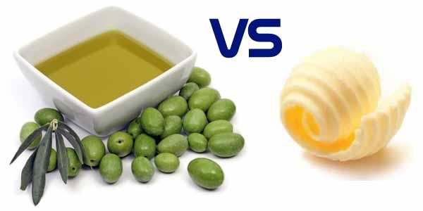 Olio d'oliva e burro a confronto