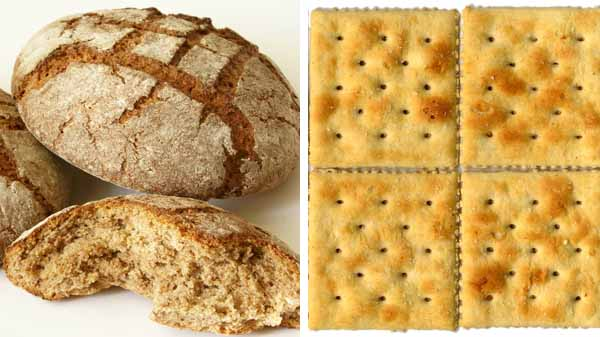 Confronto tra pane e crackers