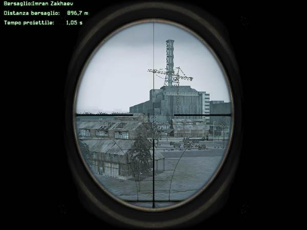 Sullo sfondo la centrale nucleare di ?ernobyl e in primo piano i dati balistici